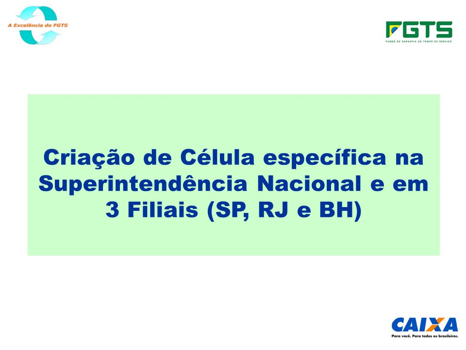 Criação de Célula específica na Superintendência Nacional e em 3 Filiais (SP, RJ e BH)