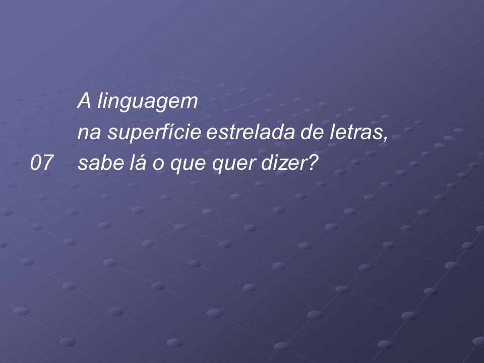 A linguagem na superfície estrelada de letras, 07 sabe lá o que quer dizer?