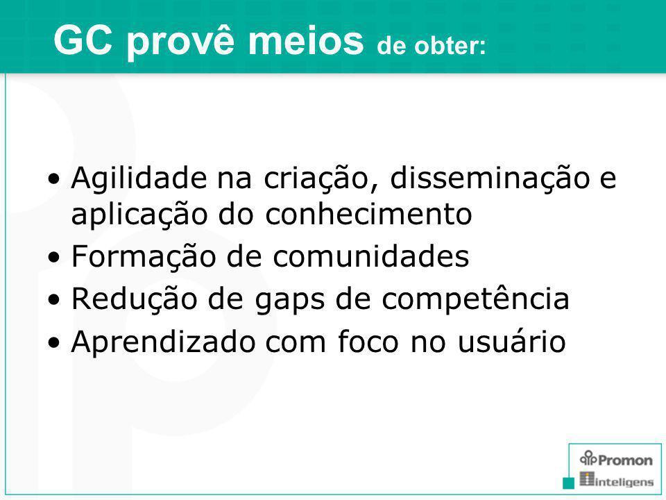 GC provê meios de obter: Agilidade na criação, disseminação e aplicação do conhecimento Formação de comunidades Redução de gaps de competência Aprendizado com foco no usuário