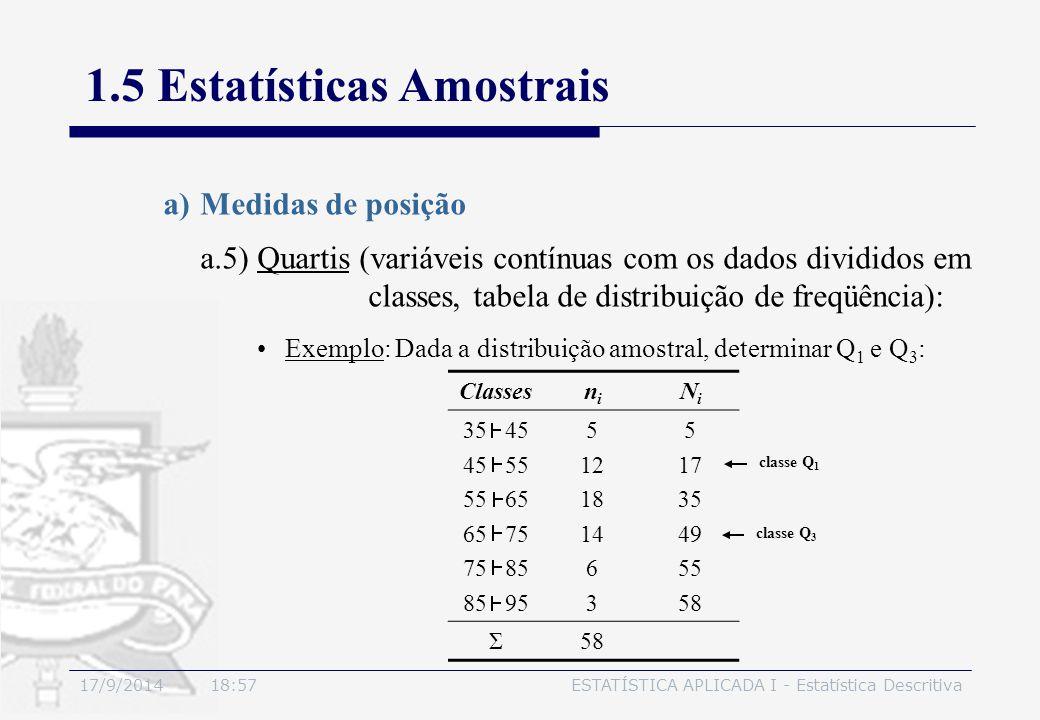 17/9/2014 19:00ESTATÍSTICA APLICADA I - Estatística Descritiva 1.5 Estatísticas Amostrais a)Medidas de posição Exemplo: Dada a distribuição amostral,