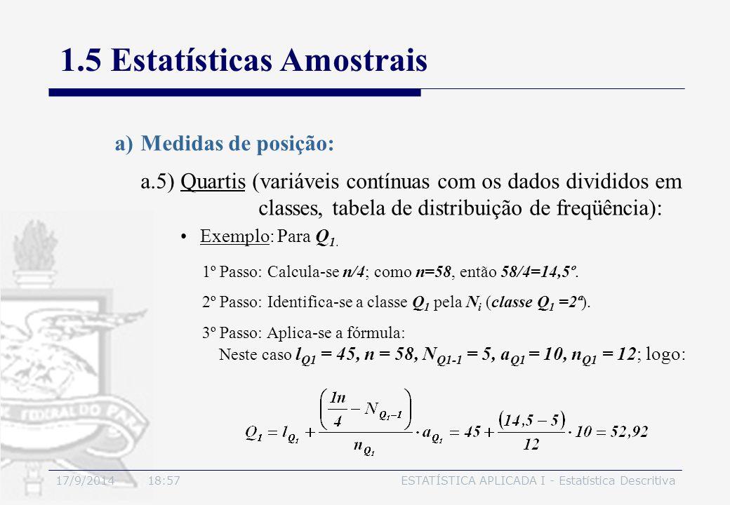 17/9/2014 19:00ESTATÍSTICA APLICADA I - Estatística Descritiva 1.5 Estatísticas Amostrais a)Medidas de posição: Exemplo: Para Q 1. 1º Passo: Calcula-s