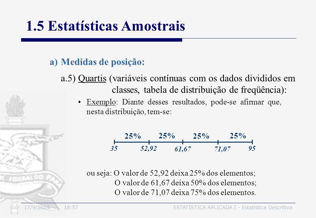 17/9/2014 19:00ESTATÍSTICA APLICADA I - Estatística Descritiva 1.5 Estatísticas Amostrais a)Medidas de posição: Exemplo: Diante desses resultados, pod