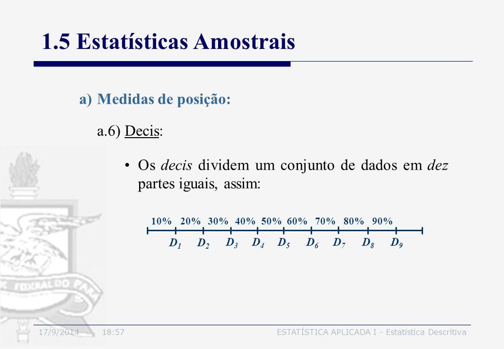 17/9/2014 19:00ESTATÍSTICA APLICADA I - Estatística Descritiva 1.5 Estatísticas Amostrais a.6) Decis: a)Medidas de posição: Os decis dividem um conjun