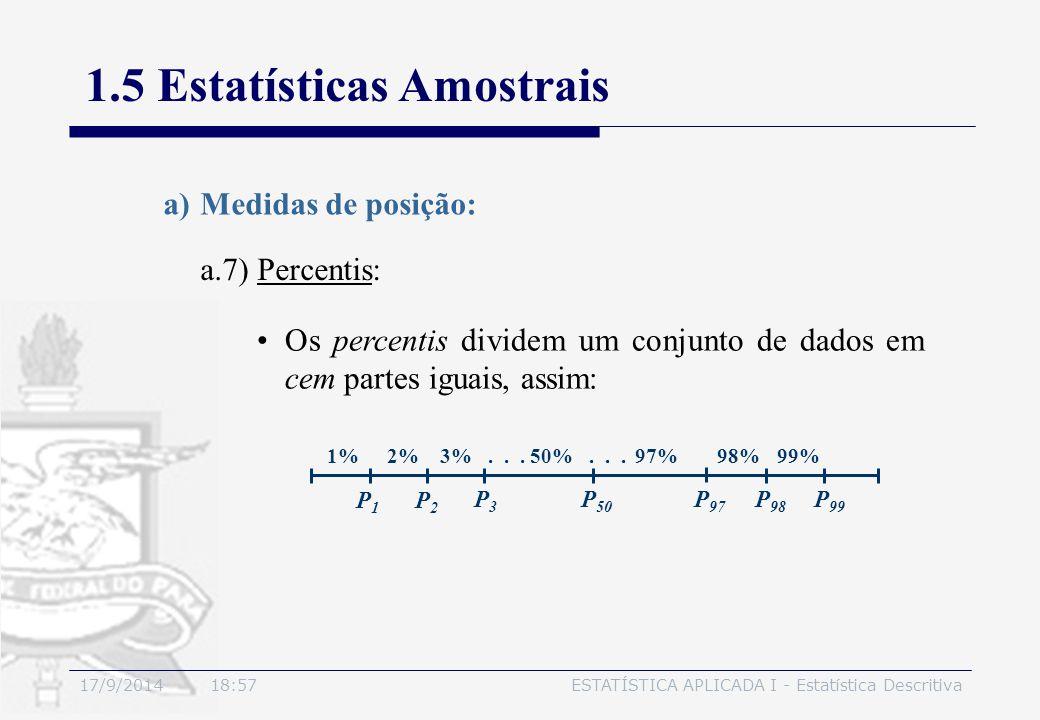17/9/2014 19:00ESTATÍSTICA APLICADA I - Estatística Descritiva 1.5 Estatísticas Amostrais a.7) Percentis: a)Medidas de posição: Os percentis dividem u