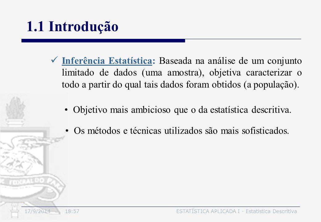 17/9/2014 19:00ESTATÍSTICA APLICADA I - Estatística Descritiva 1.1 Introdução Objetivo mais ambicioso que o da estatística descritiva. Inferência Esta