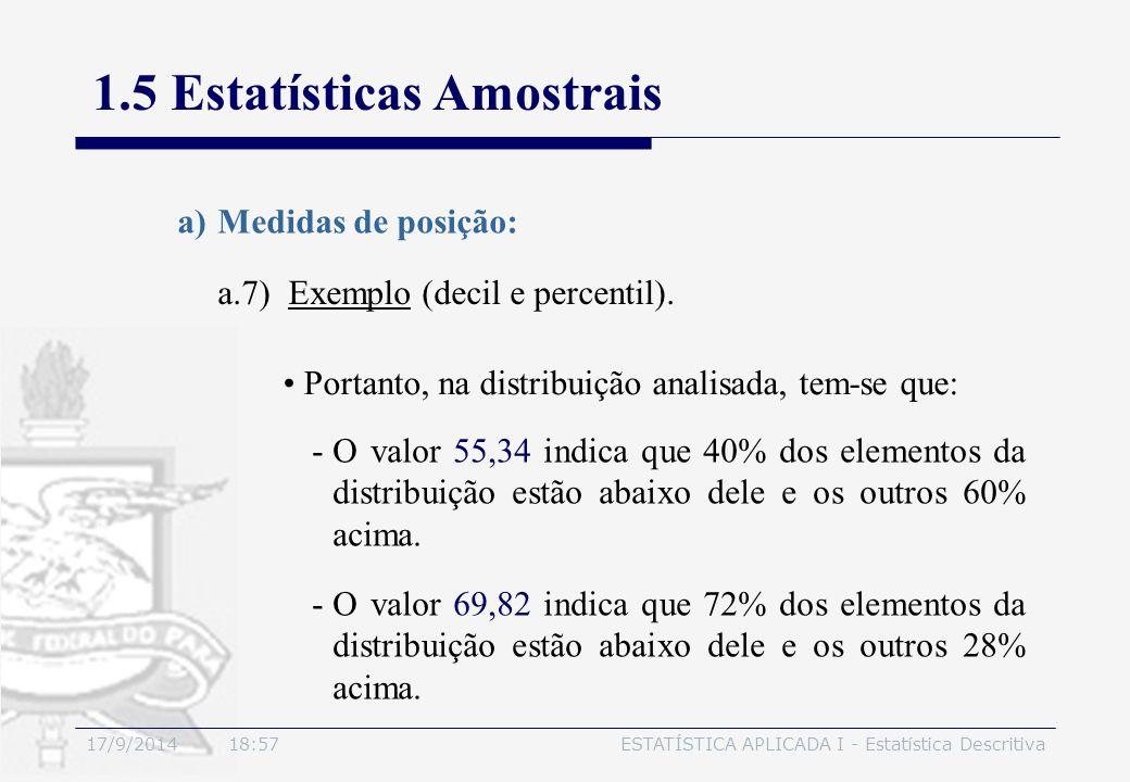17/9/2014 19:00ESTATÍSTICA APLICADA I - Estatística Descritiva 1.5 Estatísticas Amostrais a.7) Exemplo (decil e percentil). a)Medidas de posição: Port