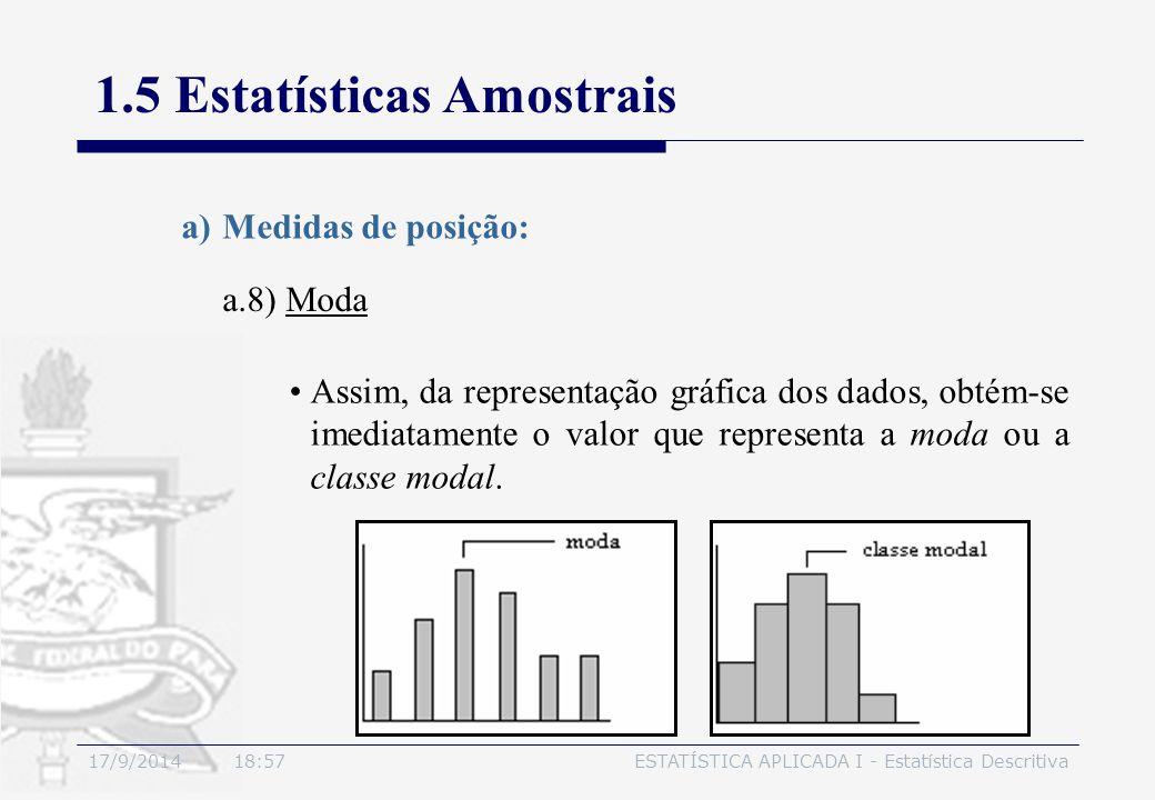 17/9/2014 19:00ESTATÍSTICA APLICADA I - Estatística Descritiva 1.5 Estatísticas Amostrais a.8) Moda a)Medidas de posição: Assim, da representação gráf