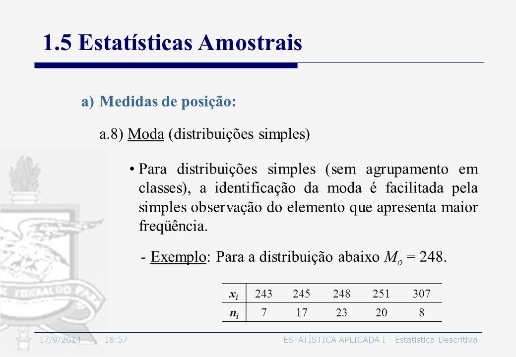 17/9/2014 19:00ESTATÍSTICA APLICADA I - Estatística Descritiva 1.5 Estatísticas Amostrais a.8) Moda (distribuições simples) a)Medidas de posição: Para
