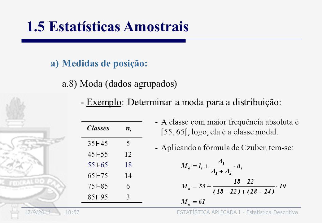 17/9/2014 19:00ESTATÍSTICA APLICADA I - Estatística Descritiva 1.5 Estatísticas Amostrais a.8) Moda (dados agrupados) a)Medidas de posição: -Exemplo: