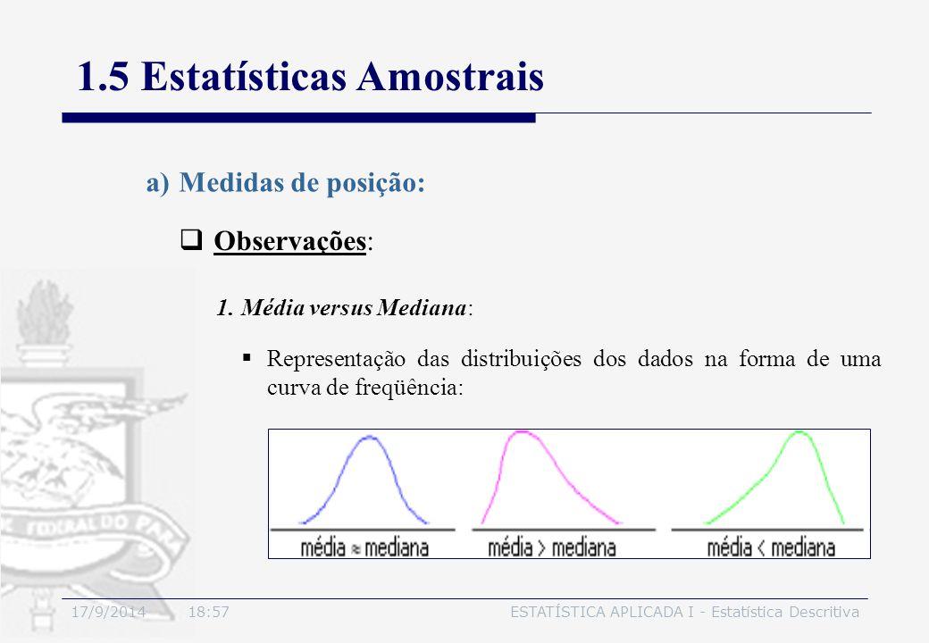 17/9/2014 19:00ESTATÍSTICA APLICADA I - Estatística Descritiva 1.5 Estatísticas Amostrais  Observações: a)Medidas de posição:  Representação das dis