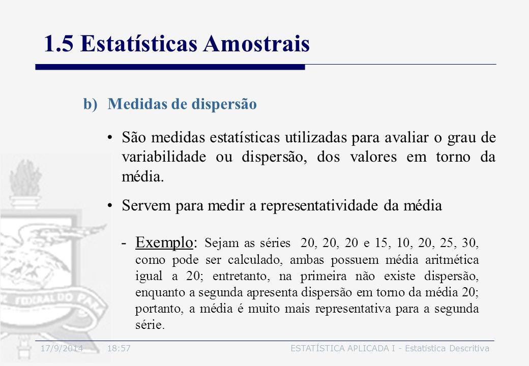 17/9/2014 19:00ESTATÍSTICA APLICADA I - Estatística Descritiva 1.5 Estatísticas Amostrais São medidas estatísticas utilizadas para avaliar o grau de v