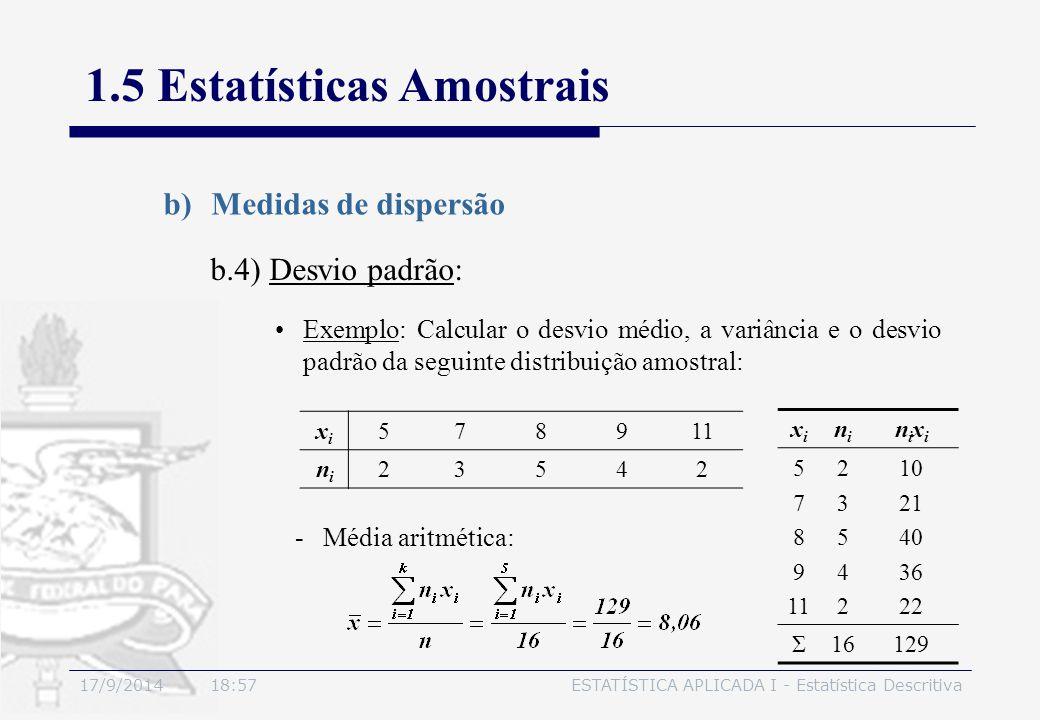 17/9/2014 19:00ESTATÍSTICA APLICADA I - Estatística Descritiva 1.5 Estatísticas Amostrais b)Medidas de dispersão b.4) Desvio padrão: Exemplo: Calcular