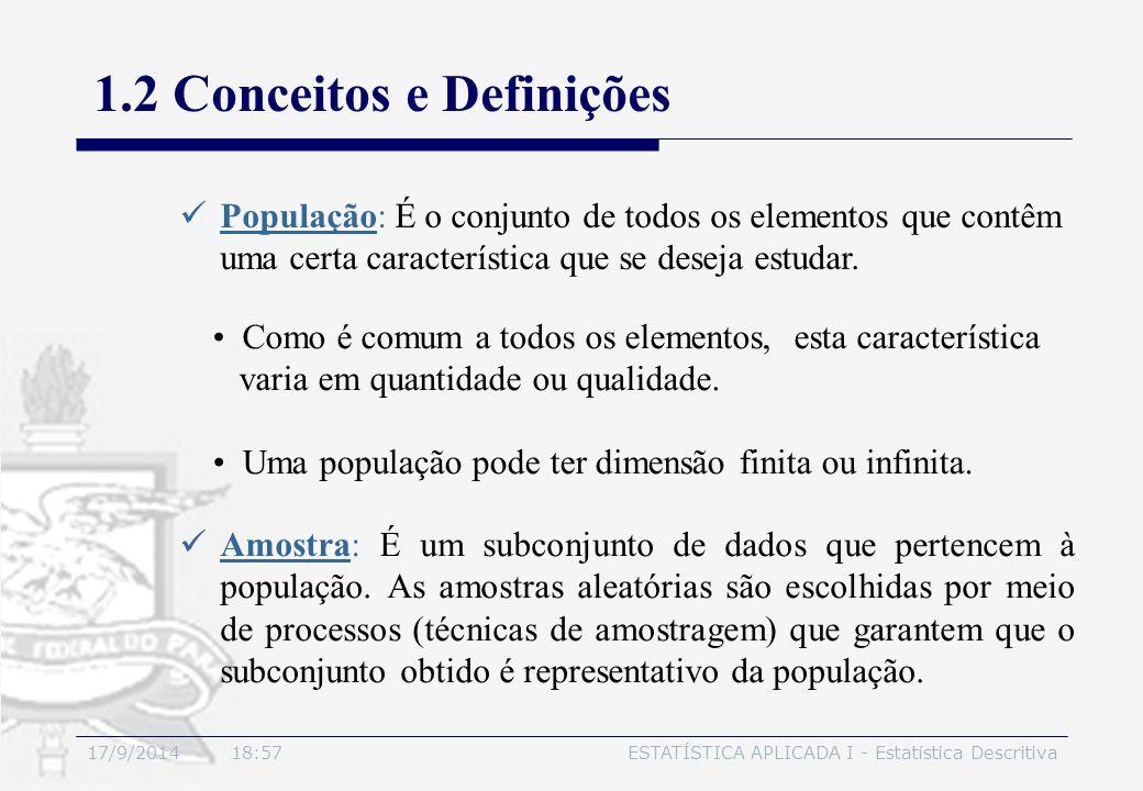 17/9/2014 19:00ESTATÍSTICA APLICADA I - Estatística Descritiva 1.2 Conceitos e Definições População: É o conjunto de todos os elementos que contêm uma