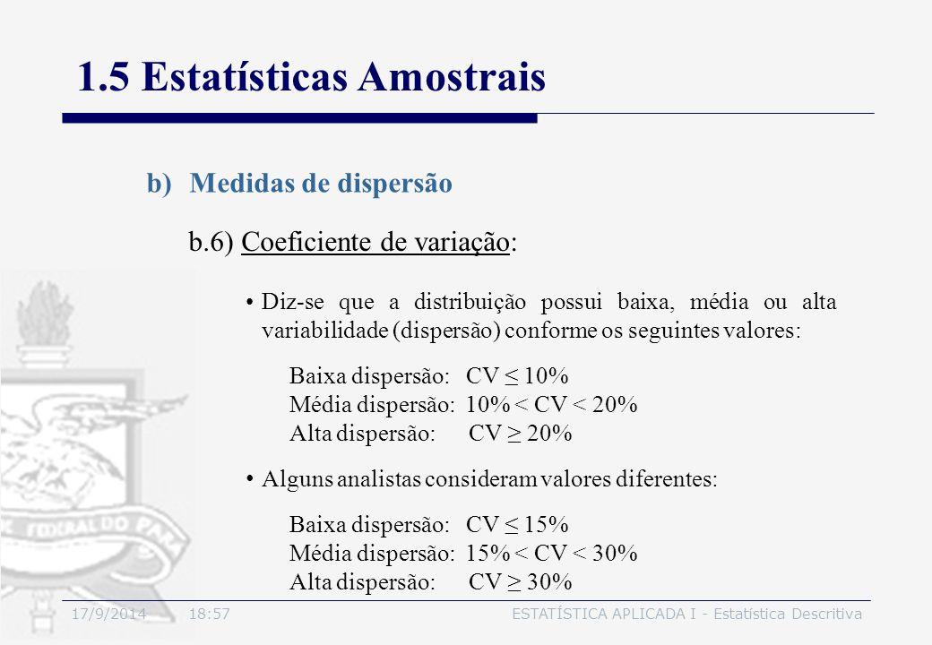 17/9/2014 19:00ESTATÍSTICA APLICADA I - Estatística Descritiva 1.5 Estatísticas Amostrais b)Medidas de dispersão b.6) Coeficiente de variação: Diz-se