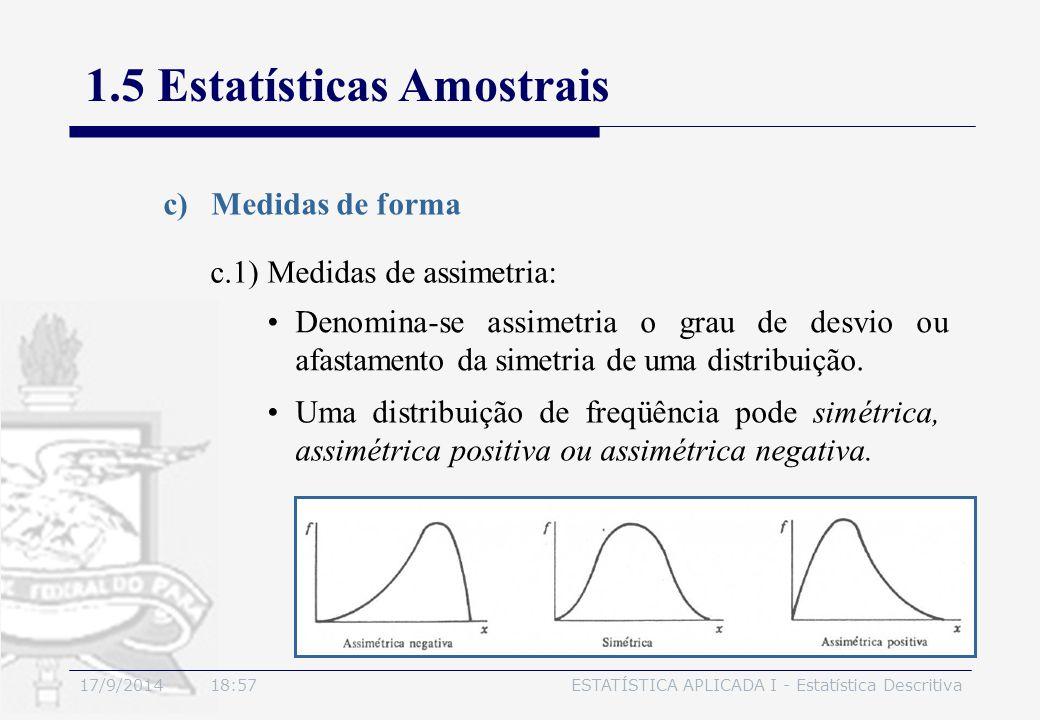 17/9/2014 19:00ESTATÍSTICA APLICADA I - Estatística Descritiva 1.5 Estatísticas Amostrais c)Medidas de forma Uma distribuição de freqüência pode simét