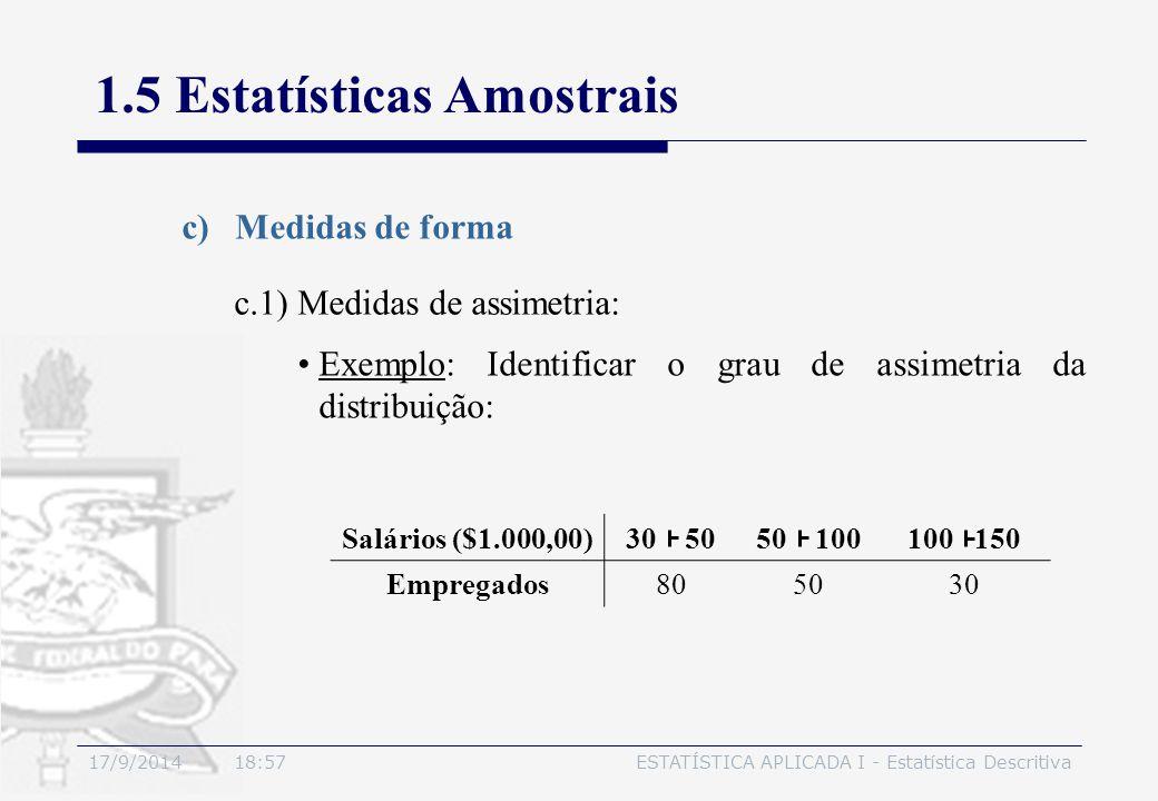17/9/2014 19:00ESTATÍSTICA APLICADA I - Estatística Descritiva 1.5 Estatísticas Amostrais c)Medidas de forma Exemplo: Identificar o grau de assimetria