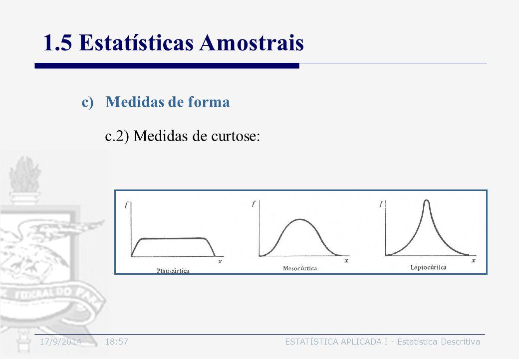 17/9/2014 19:00ESTATÍSTICA APLICADA I - Estatística Descritiva 1.5 Estatísticas Amostrais c)Medidas de forma c.2) Medidas de curtose: