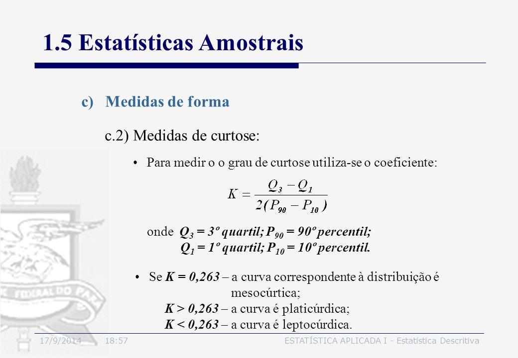 17/9/2014 19:00ESTATÍSTICA APLICADA I - Estatística Descritiva 1.5 Estatísticas Amostrais c)Medidas de forma Para medir o o grau de curtose utiliza-se
