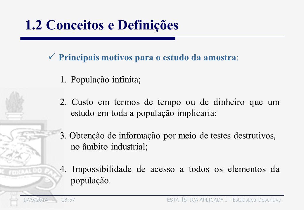 17/9/2014 19:00ESTATÍSTICA APLICADA I - Estatística Descritiva 1.2 Conceitos e Definições Principais motivos para o estudo da amostra: 1.População inf