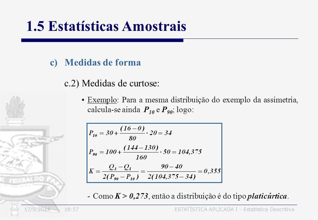 17/9/2014 19:00ESTATÍSTICA APLICADA I - Estatística Descritiva 1.5 Estatísticas Amostrais c)Medidas de forma Exemplo: Para a mesma distribuição do exe