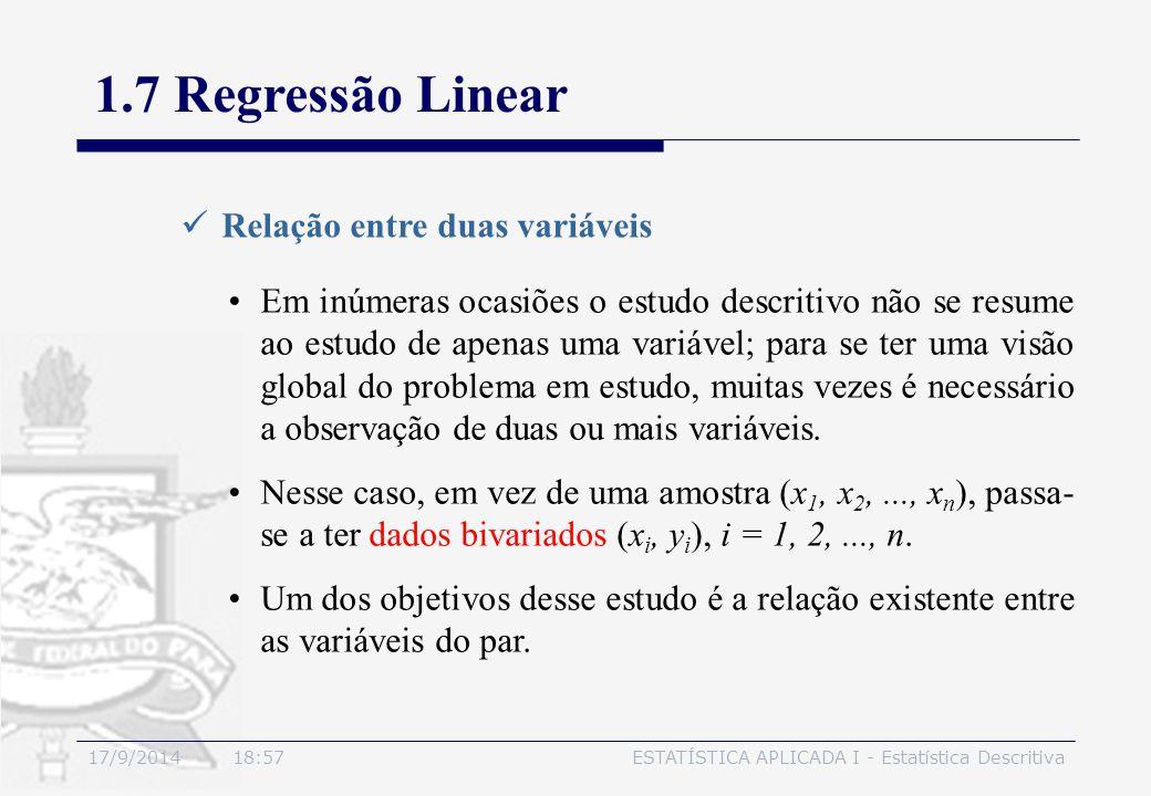 17/9/2014 19:00ESTATÍSTICA APLICADA I - Estatística Descritiva 1.7 Regressão Linear Relação entre duas variáveis Em inúmeras ocasiões o estudo descrit