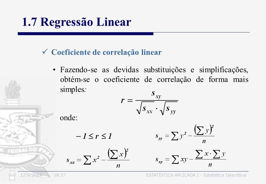 17/9/2014 19:00ESTATÍSTICA APLICADA I - Estatística Descritiva 1.7 Regressão Linear Coeficiente de correlação linear Fazendo-se as devidas substituiçõ