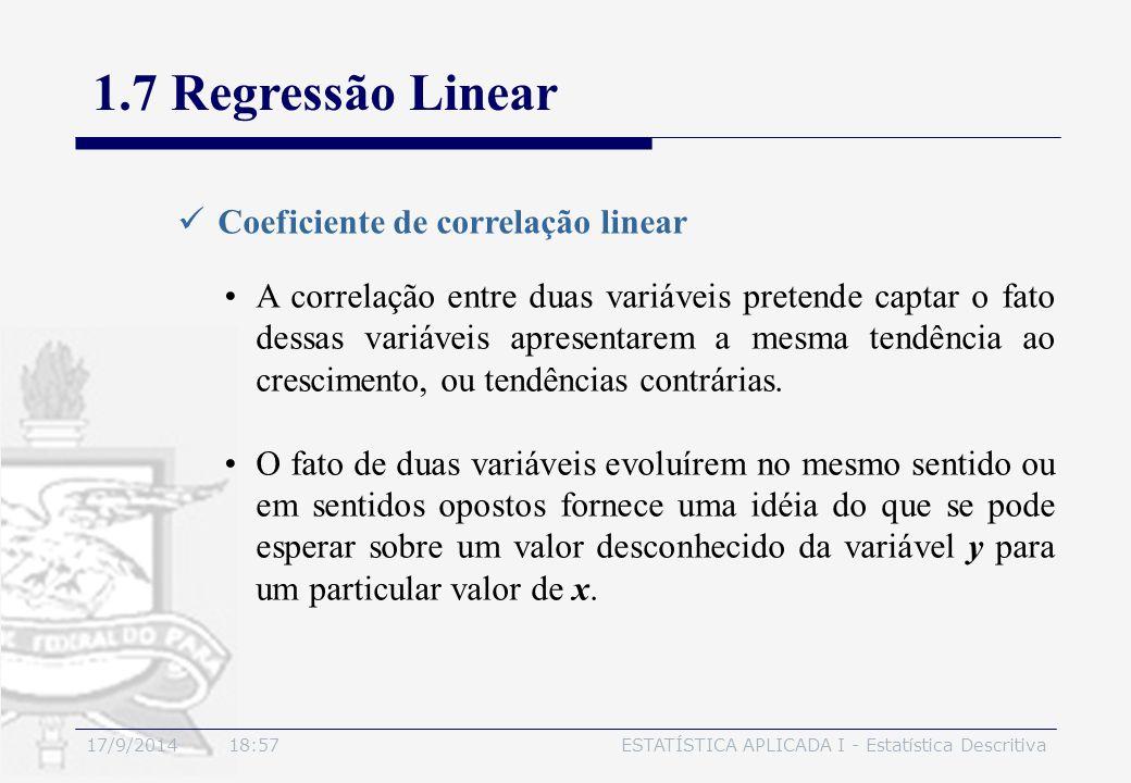 17/9/2014 19:00ESTATÍSTICA APLICADA I - Estatística Descritiva 1.7 Regressão Linear Coeficiente de correlação linear A correlação entre duas variáveis