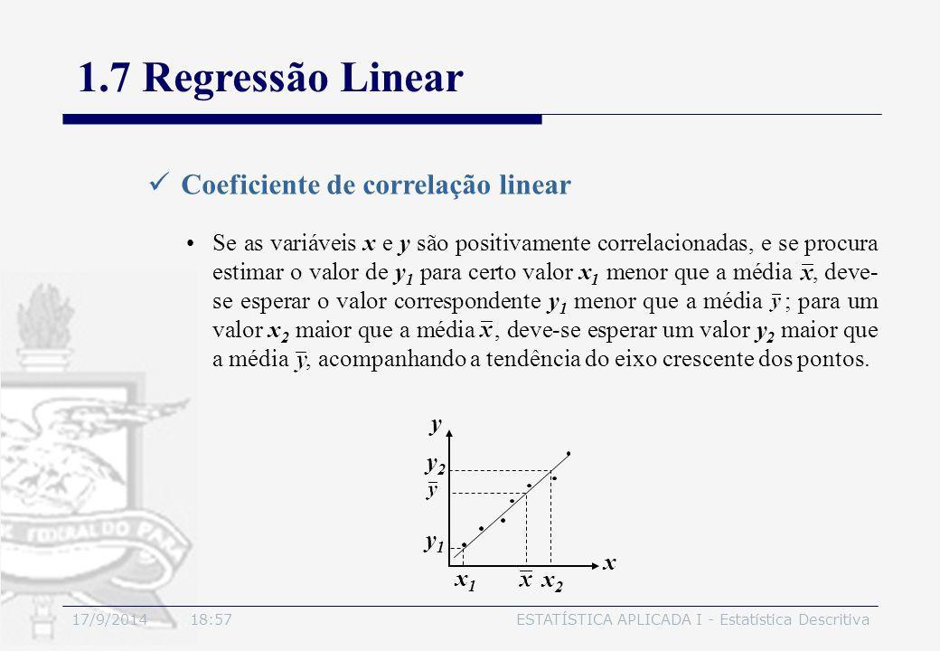 17/9/2014 19:00ESTATÍSTICA APLICADA I - Estatística Descritiva 1.7 Regressão Linear Coeficiente de correlação linear Se as variáveis x e y são positiv