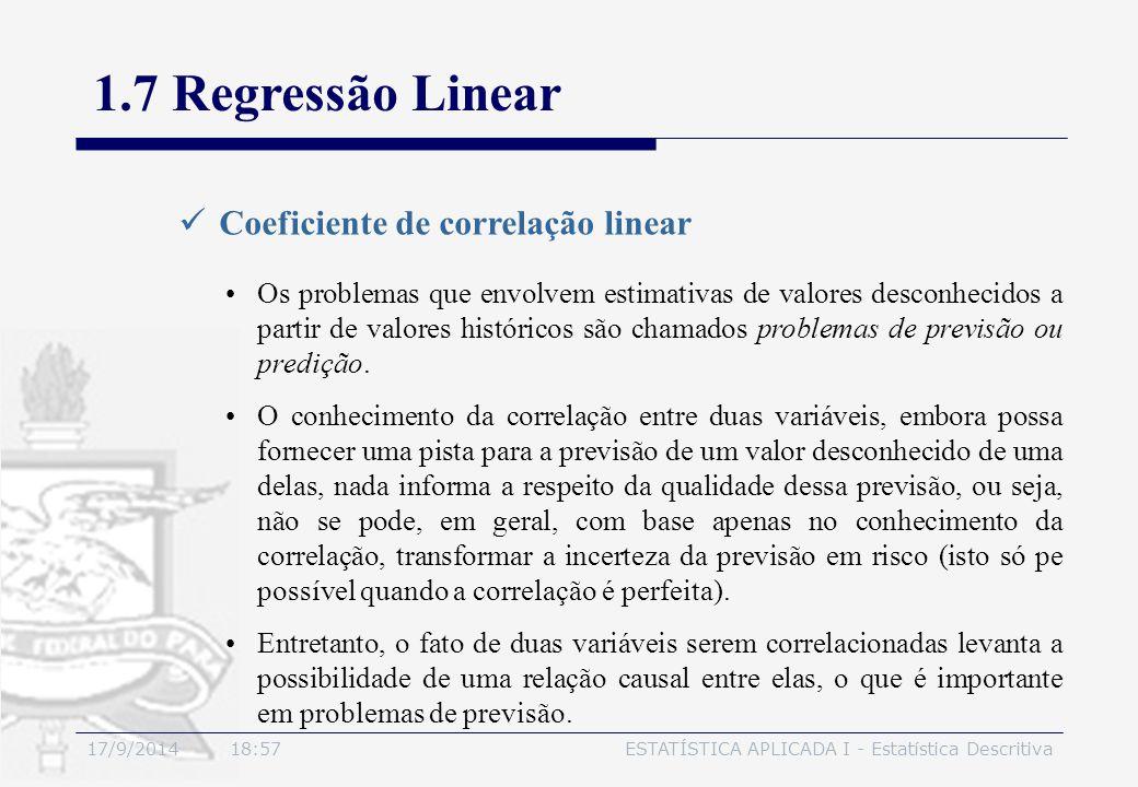 17/9/2014 19:00ESTATÍSTICA APLICADA I - Estatística Descritiva 1.7 Regressão Linear Coeficiente de correlação linear Os problemas que envolvem estimat