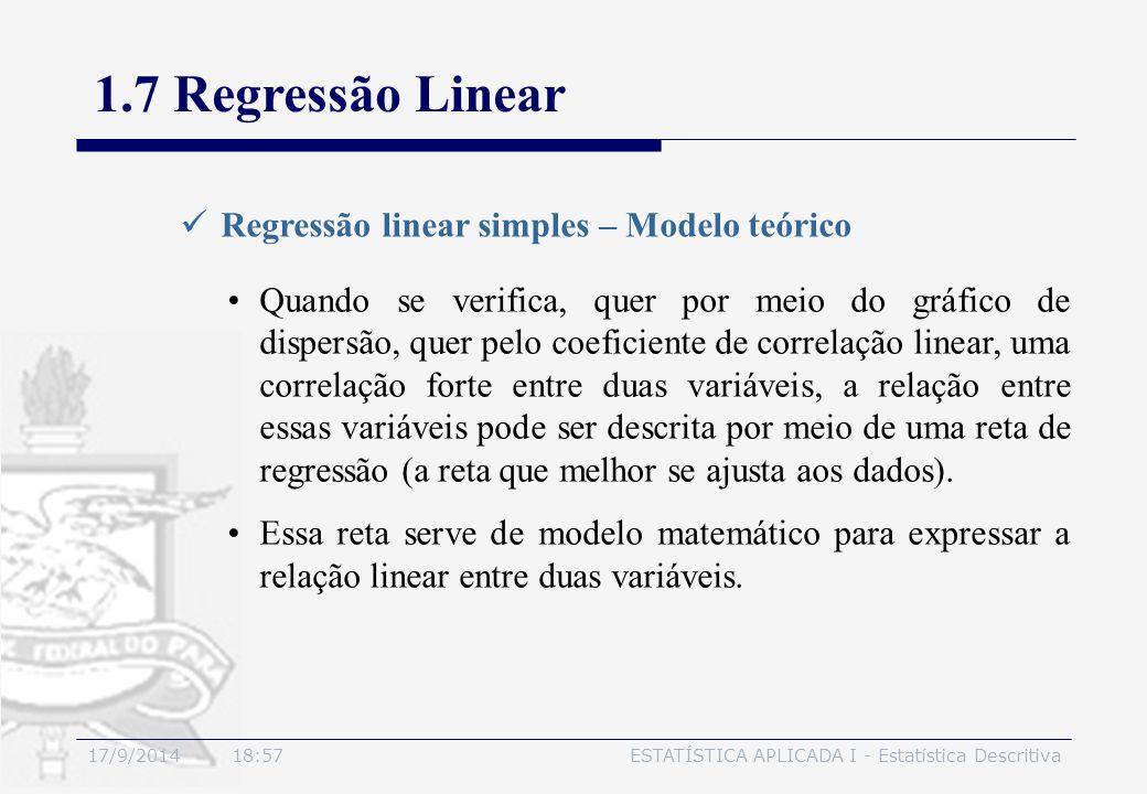 17/9/2014 19:00ESTATÍSTICA APLICADA I - Estatística Descritiva 1.7 Regressão Linear Regressão linear simples – Modelo teórico Quando se verifica, quer