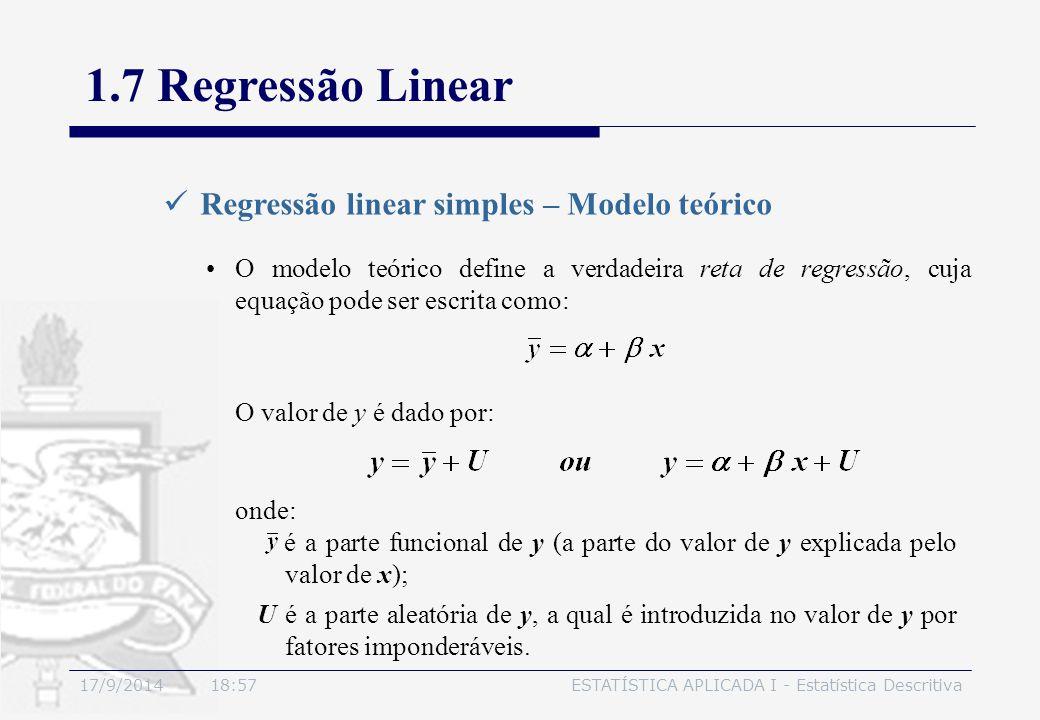 17/9/2014 19:00ESTATÍSTICA APLICADA I - Estatística Descritiva 1.7 Regressão Linear Regressão linear simples – Modelo teórico O modelo teórico define
