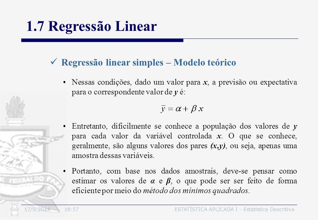 17/9/2014 19:00ESTATÍSTICA APLICADA I - Estatística Descritiva 1.7 Regressão Linear Regressão linear simples – Modelo teórico Nessas condições, dado u
