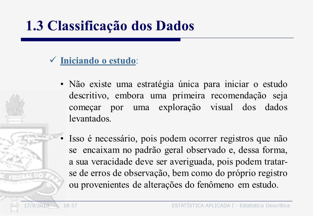 17/9/2014 19:00ESTATÍSTICA APLICADA I - Estatística Descritiva 1.3 Classificação dos Dados Iniciando o estudo: Isso é necessário, pois podem ocorrer r