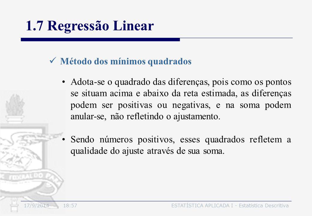 17/9/2014 19:00ESTATÍSTICA APLICADA I - Estatística Descritiva 1.7 Regressão Linear Método dos mínimos quadrados Adota-se o quadrado das diferenças, p