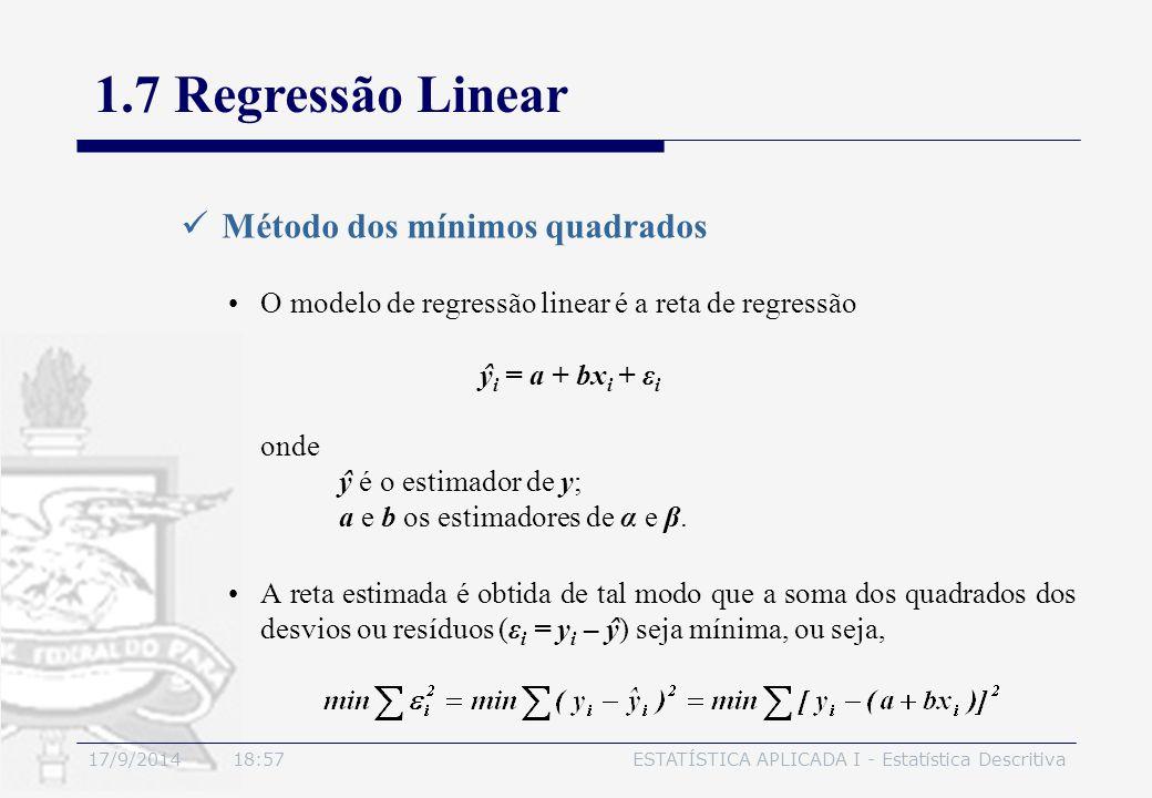 17/9/2014 19:00ESTATÍSTICA APLICADA I - Estatística Descritiva 1.7 Regressão Linear Método dos mínimos quadrados O modelo de regressão linear é a reta