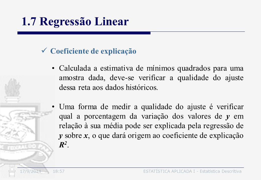 17/9/2014 19:00ESTATÍSTICA APLICADA I - Estatística Descritiva 1.7 Regressão Linear Coeficiente de explicação Calculada a estimativa de mínimos quadra