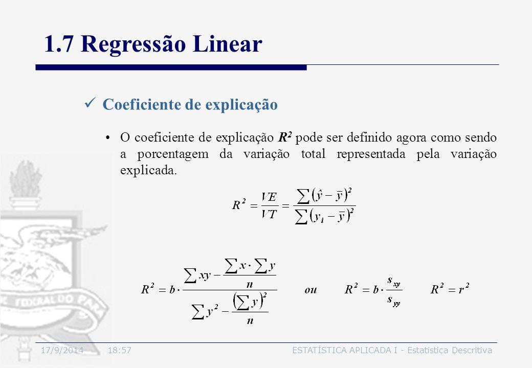 17/9/2014 19:00ESTATÍSTICA APLICADA I - Estatística Descritiva 1.7 Regressão Linear Coeficiente de explicação O coeficiente de explicação R 2 pode ser