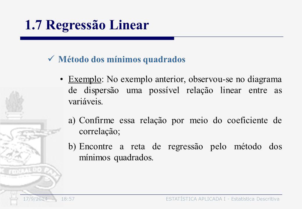 17/9/2014 19:00ESTATÍSTICA APLICADA I - Estatística Descritiva 1.7 Regressão Linear Método dos mínimos quadrados Exemplo: No exemplo anterior, observo