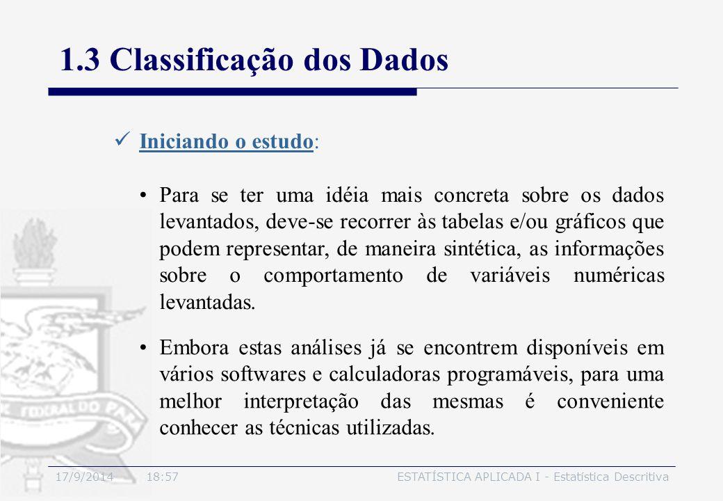 17/9/2014 19:00ESTATÍSTICA APLICADA I - Estatística Descritiva 1.3 Classificação dos Dados Iniciando o estudo: Embora estas análises já se encontrem d