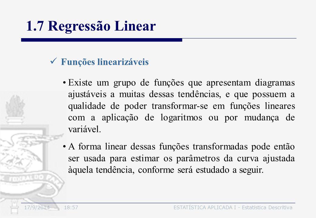 17/9/2014 19:00ESTATÍSTICA APLICADA I - Estatística Descritiva 1.7 Regressão Linear Funções linearizáveis Existe um grupo de funções que apresentam di