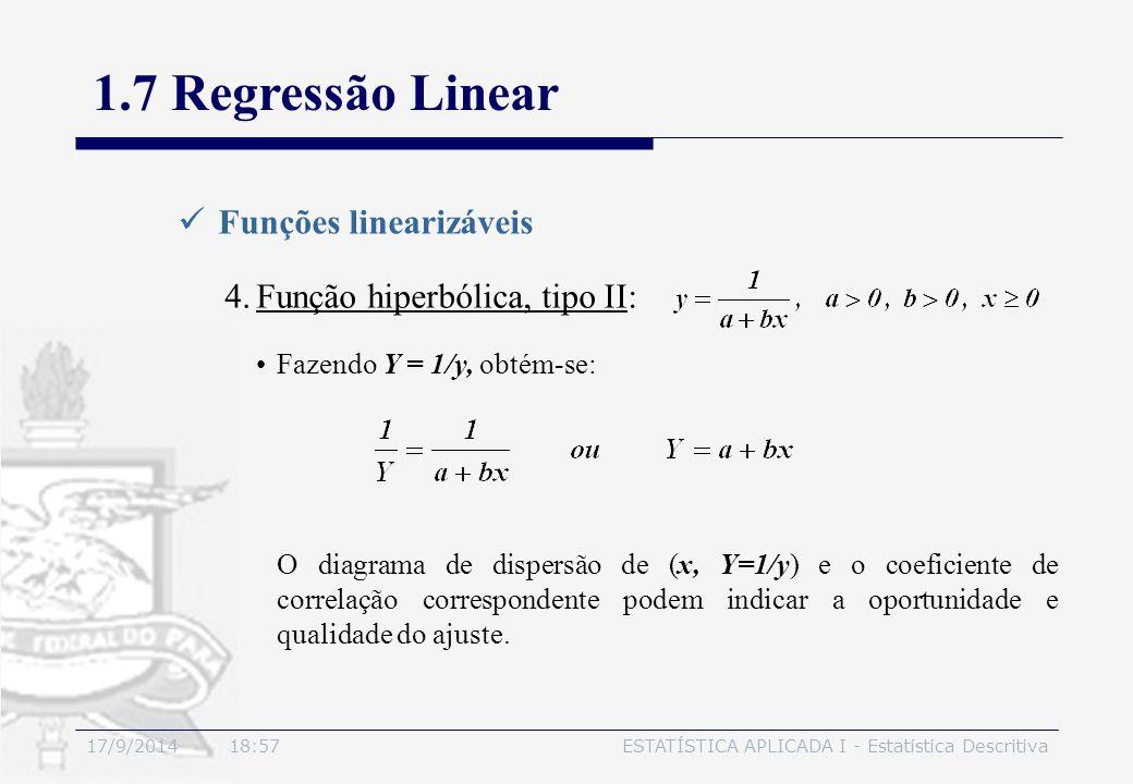 17/9/2014 19:00ESTATÍSTICA APLICADA I - Estatística Descritiva 1.7 Regressão Linear Funções linearizáveis 4.Função hiperbólica, tipo II: Fazendo Y = 1