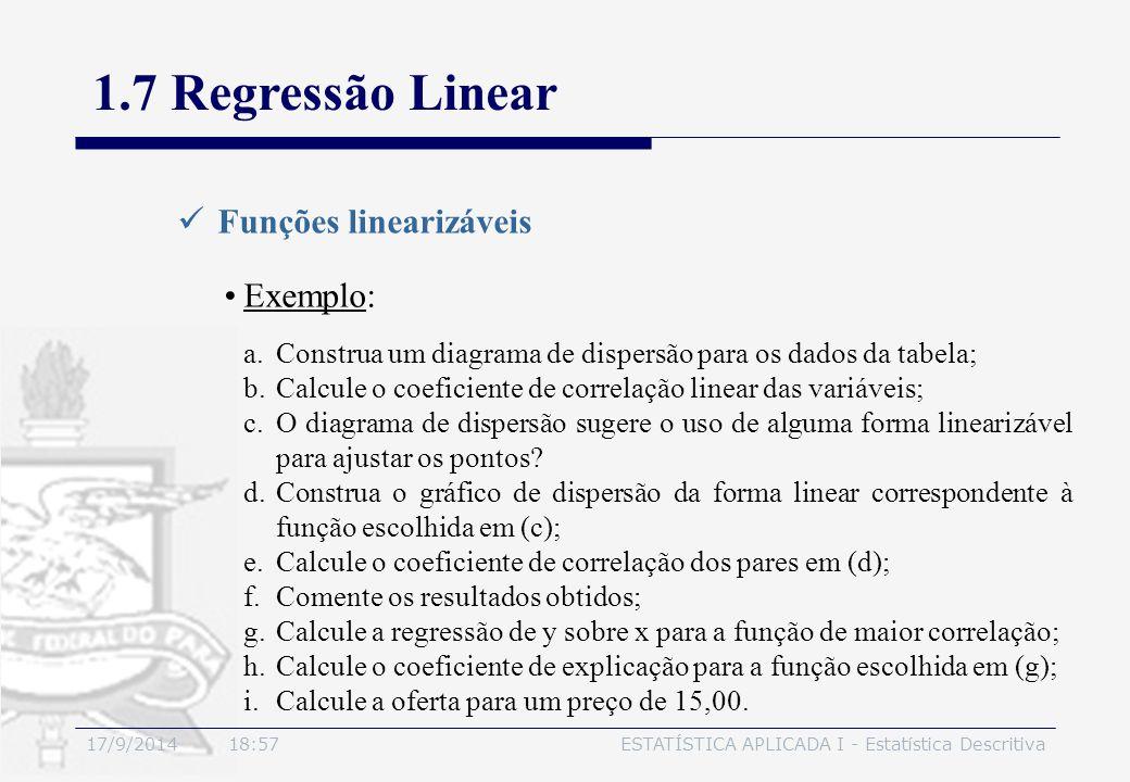 17/9/2014 19:00ESTATÍSTICA APLICADA I - Estatística Descritiva 1.7 Regressão Linear Funções linearizáveis Exemplo: a.Construa um diagrama de dispersão