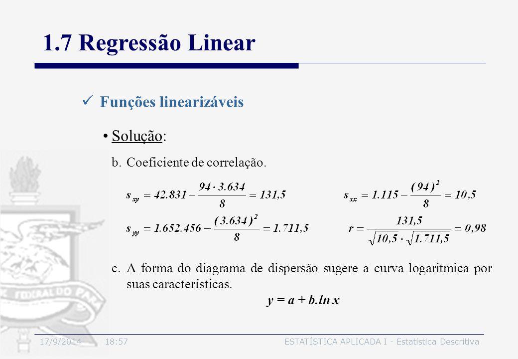 17/9/2014 19:00ESTATÍSTICA APLICADA I - Estatística Descritiva 1.7 Regressão Linear Funções linearizáveis Solução: b.Coeficiente de correlação. c.A fo