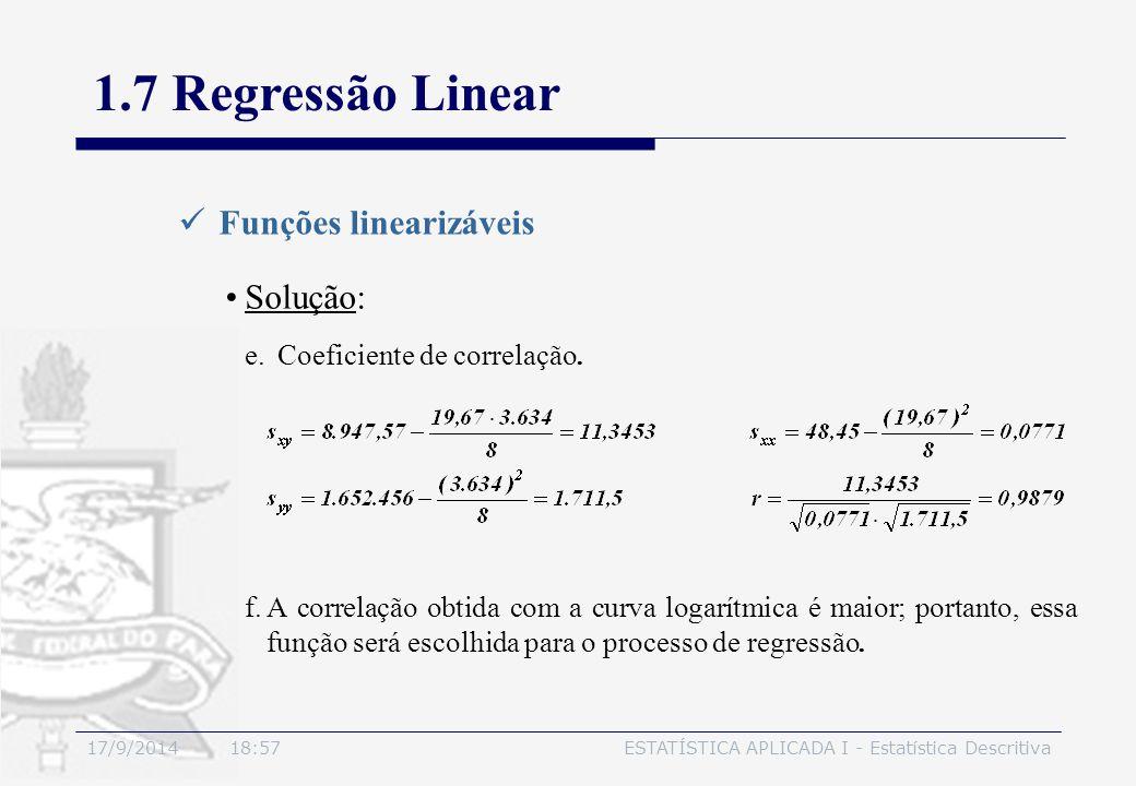 17/9/2014 19:00ESTATÍSTICA APLICADA I - Estatística Descritiva 1.7 Regressão Linear Funções linearizáveis Solução: e.Coeficiente de correlação. f.A co