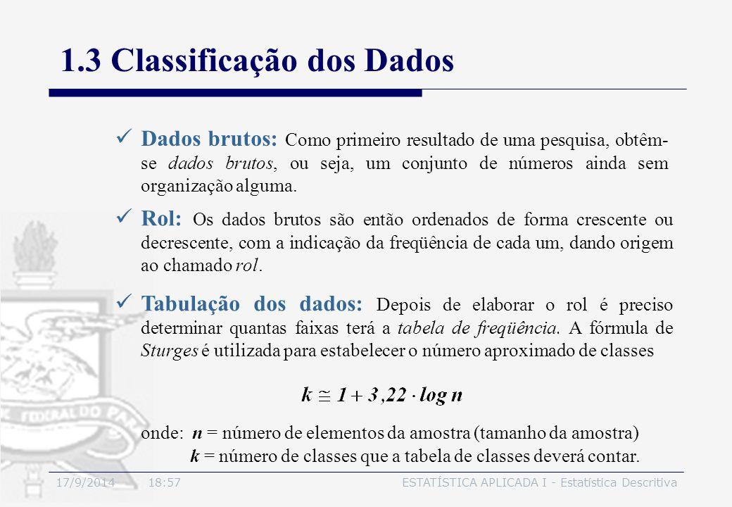 17/9/2014 19:00ESTATÍSTICA APLICADA I - Estatística Descritiva 1.3 Classificação dos Dados Dados brutos: Como primeiro resultado de uma pesquisa, obtê