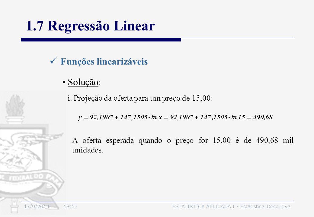 17/9/2014 19:00ESTATÍSTICA APLICADA I - Estatística Descritiva 1.7 Regressão Linear Funções linearizáveis Solução: i.Projeção da oferta para um preço