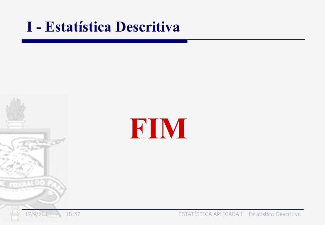 17/9/2014 19:00ESTATÍSTICA APLICADA I - Estatística Descritiva FIM I - Estatística Descritiva
