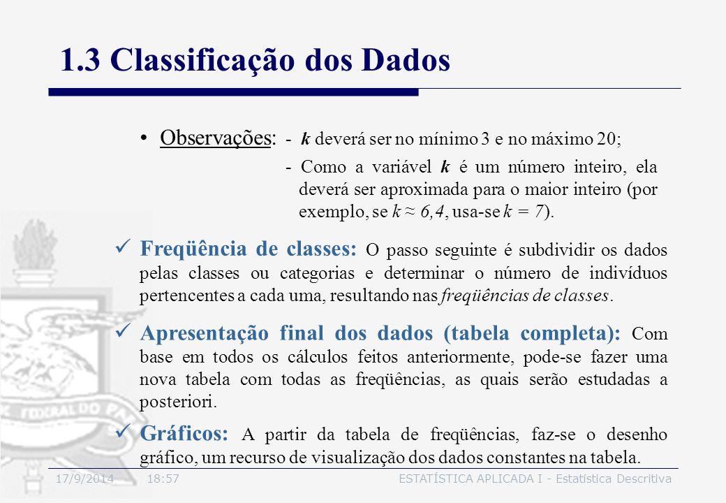 17/9/2014 19:00ESTATÍSTICA APLICADA I - Estatística Descritiva 1.3 Classificação dos Dados Observações: - k deverá ser no mínimo 3 e no máximo 20; - C