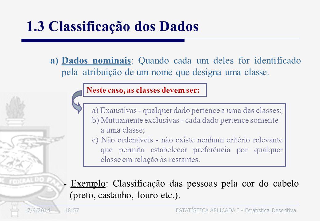 17/9/2014 19:00ESTATÍSTICA APLICADA I - Estatística Descritiva 1.3 Classificação dos Dados a)Dados nominais: Quando cada um deles for identificado pel