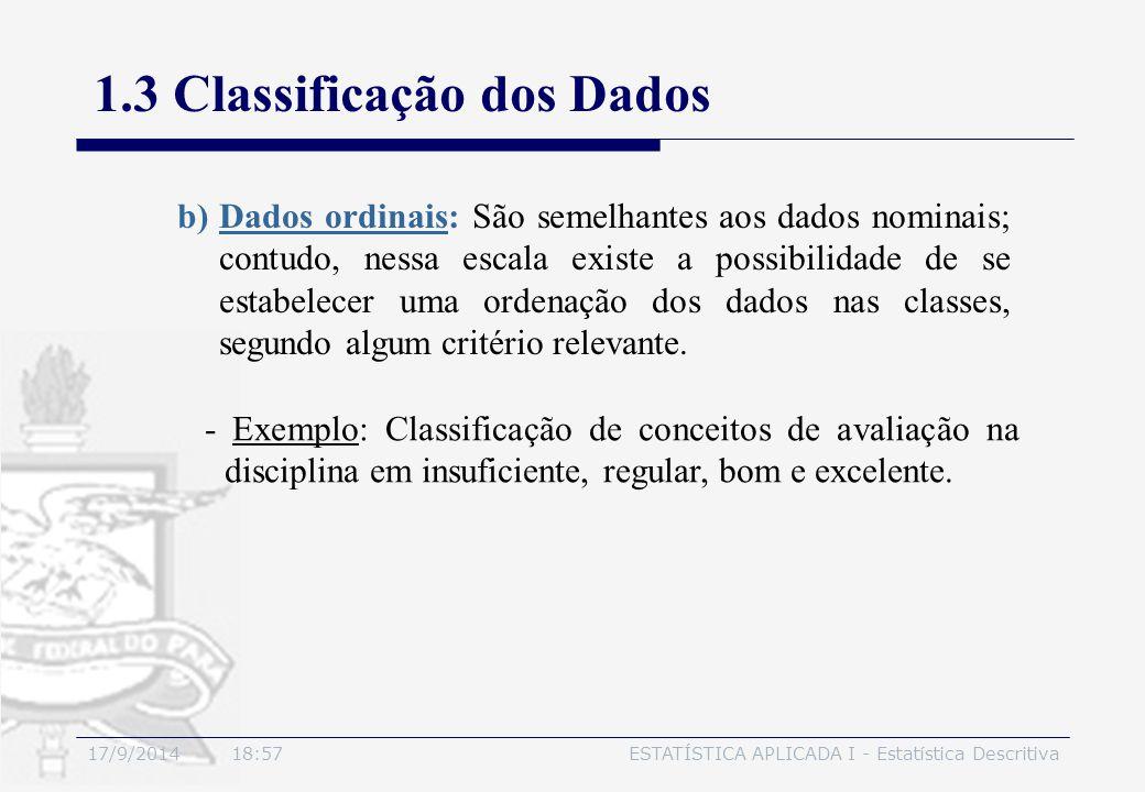 17/9/2014 19:00ESTATÍSTICA APLICADA I - Estatística Descritiva 1.3 Classificação dos Dados - Exemplo: Classificação de conceitos de avaliação na disci